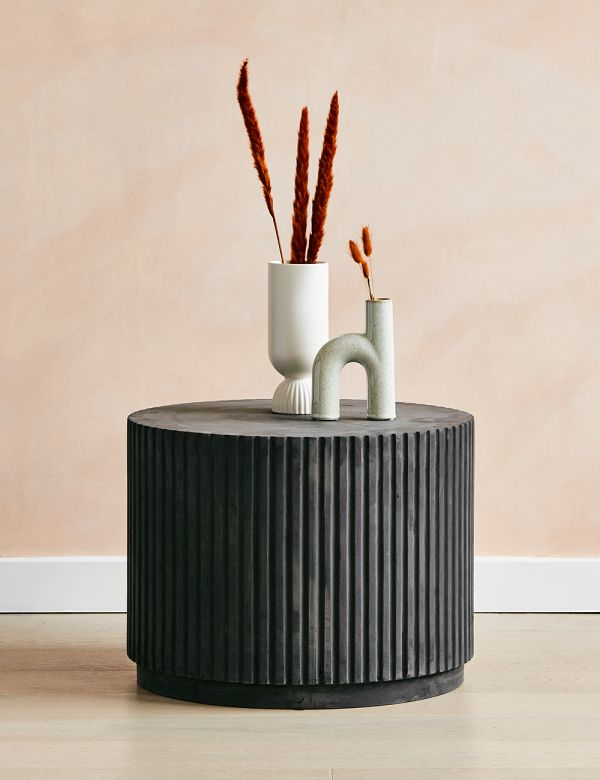Rillo Charcoal Short Side Table