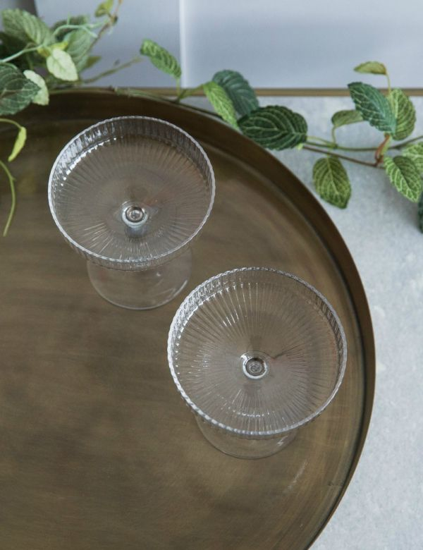 Ferm Living Ripple Glass Champagne Saucers - Set of 2
