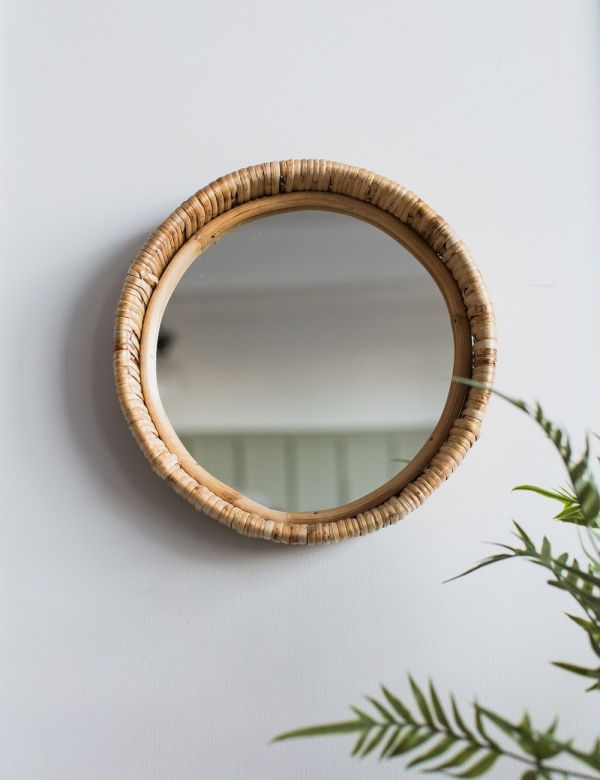 Round Bamboo Framed Mirror