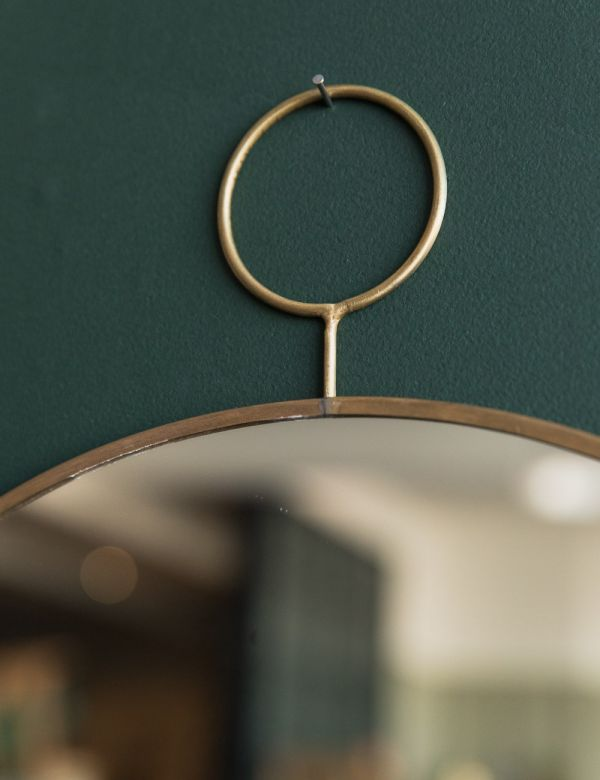 Round Brass Mirror with Loop - Two Sizes Available
