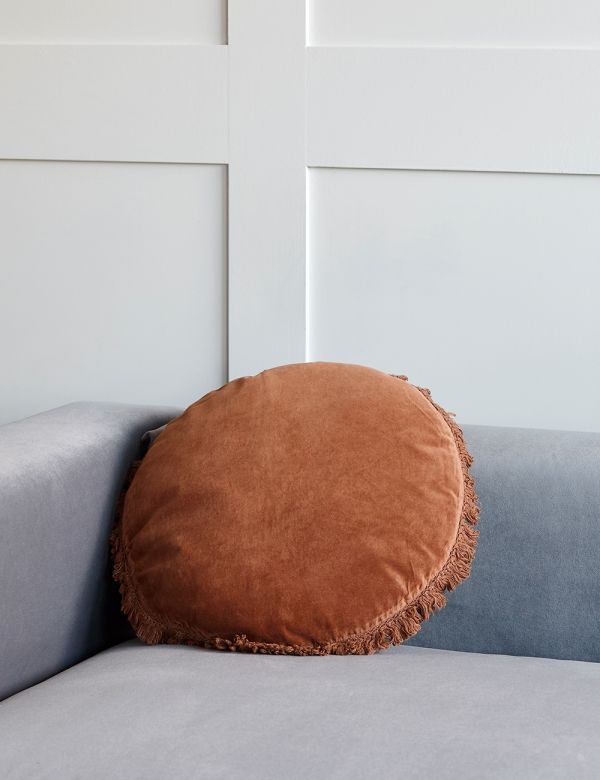 Round Fringed Velvet Cushion - Three Colours Available