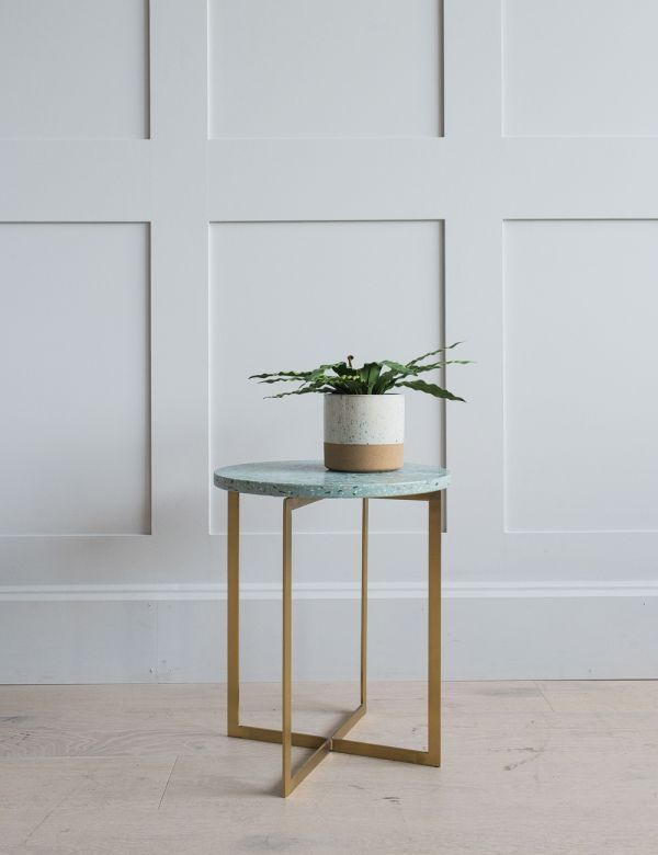 Round Green Terrazzo Side Table