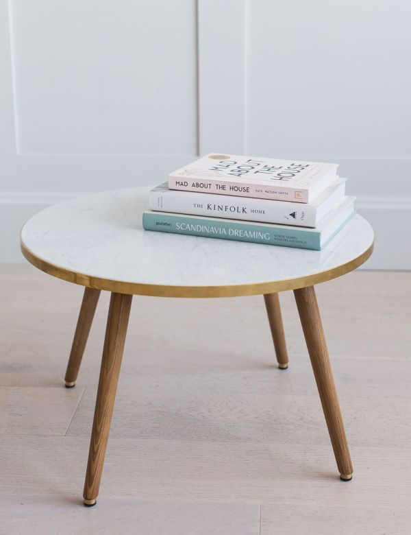 H. Lis Fox Round Marble & Wood Coffee Table