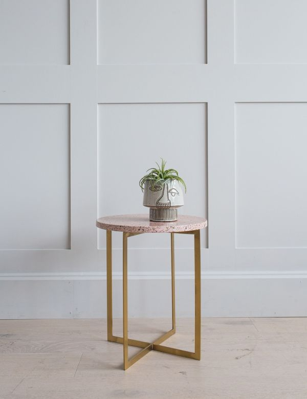 Round Pink Terrazzo Side Table
