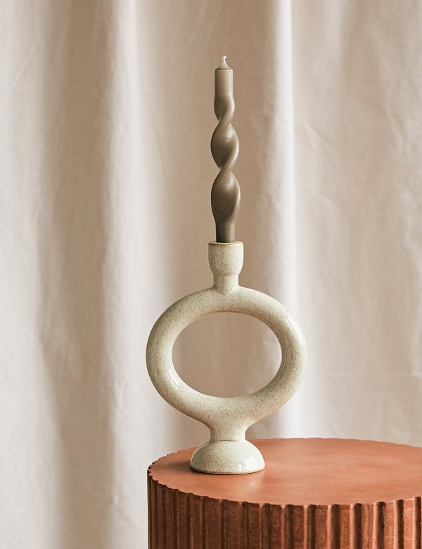 Round Stoneware Candle Holder - Off White