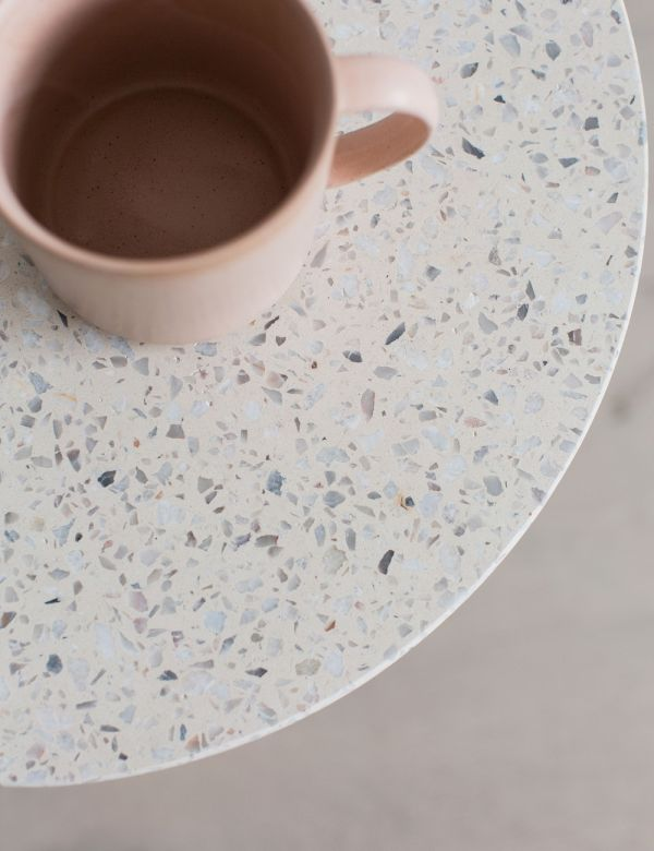 Round White Terrazzo Side Table