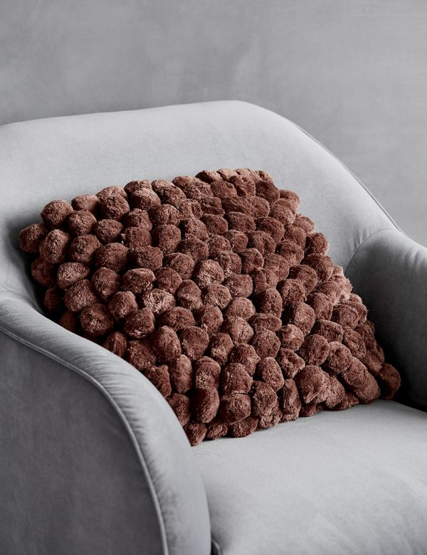Rust Pom Pom Cushion