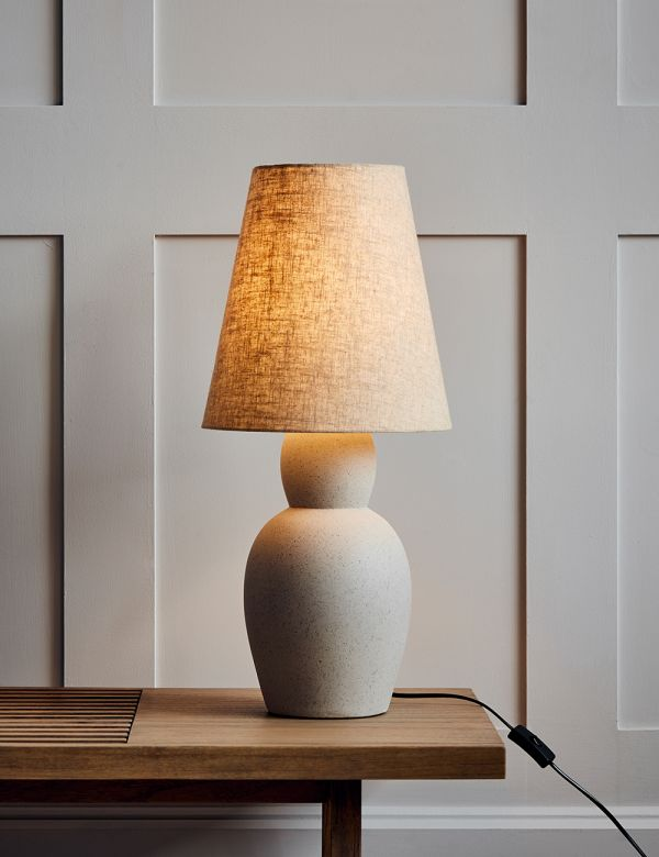 Sand Cement & Linen Table Lamp