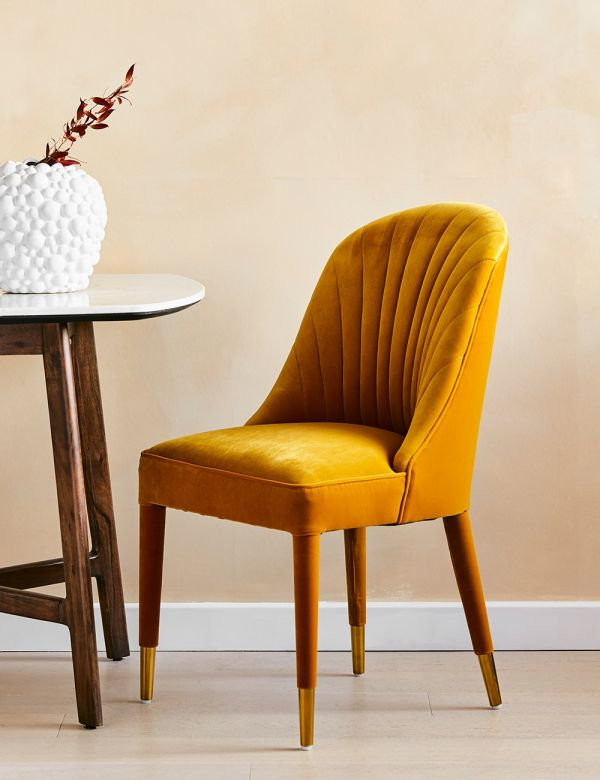 Scalloped Mustard Velvet Dining Chair