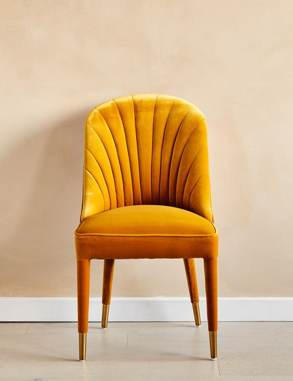 Scalloped Mustard Velvet Occasional Chair