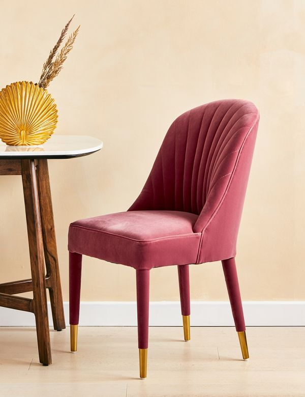 Scalloped Pink Velvet Dining Chair