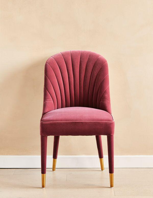 Scalloped Pink Velvet Occasional Chair