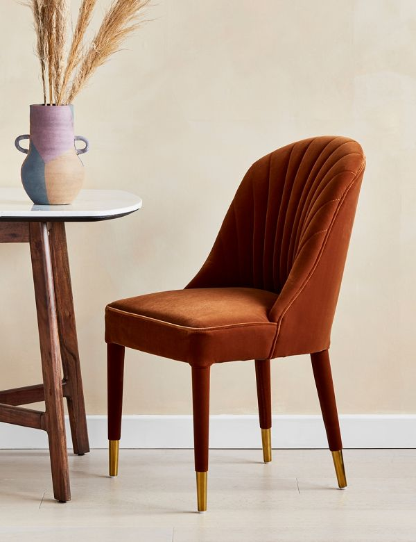 Scalloped Rust Velvet Dining Chair