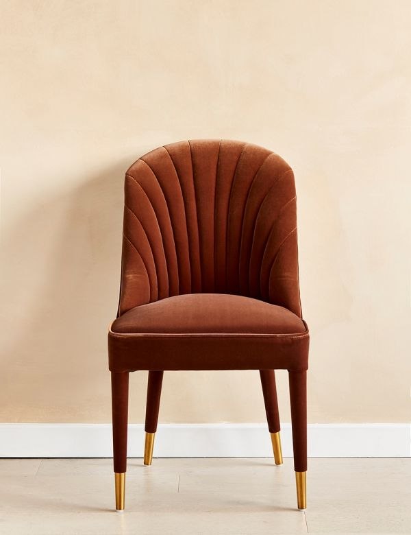 Scalloped Rust Velvet Occasional Chair