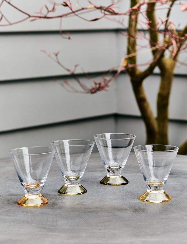 Set of Four Colourful Cocktail Glasses