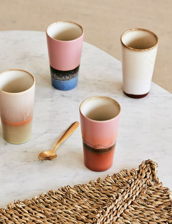 Set of Four Pastel Ceramic Latte Mugs