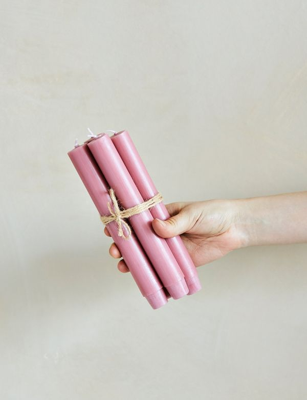 Set of Four Pink Dinner Candles