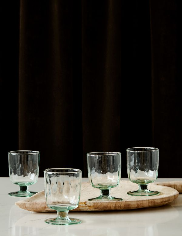 Set of Four Recycled Glass Wine Glasses