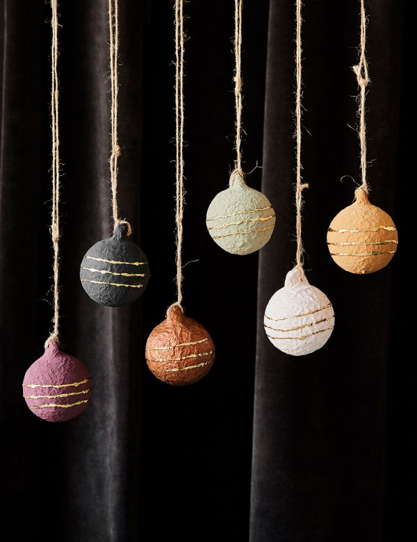 Set of Six Recycled Paper Baubles - Balls