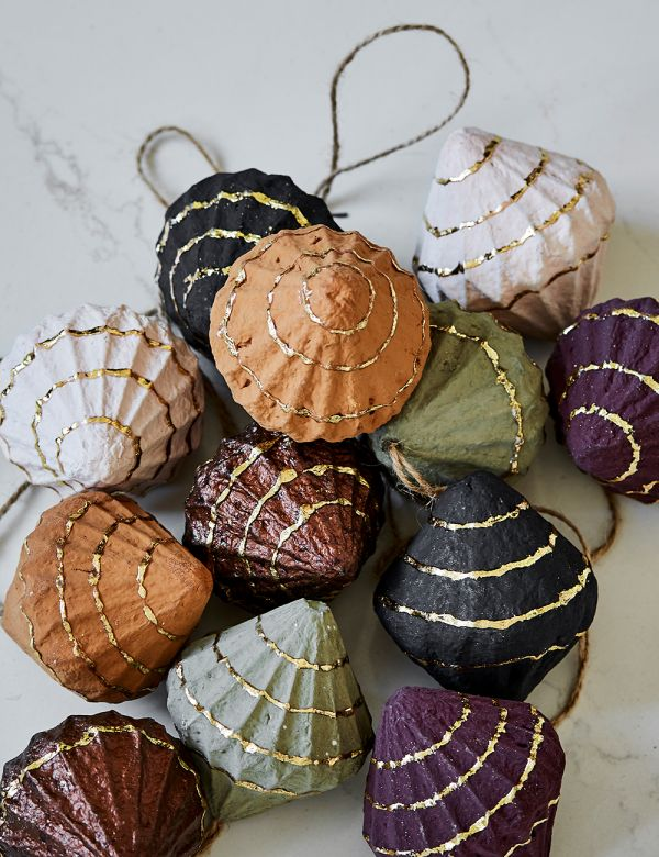 Set of Six Recycled Paper Baubles - Cones