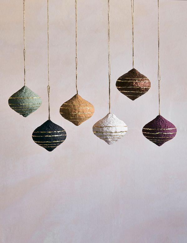 Set of Six Recycled Paper Baubles - Teardrops