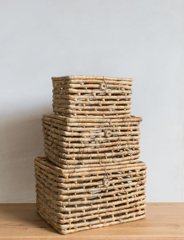 Set of Three Wicker Baskets with Lids