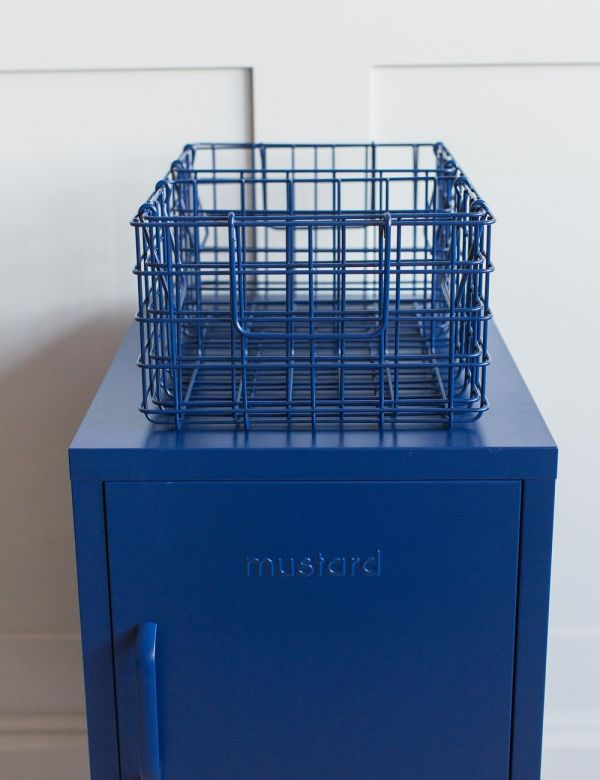 Mustard Made Set of Three Wire Baskets - Navy Blue