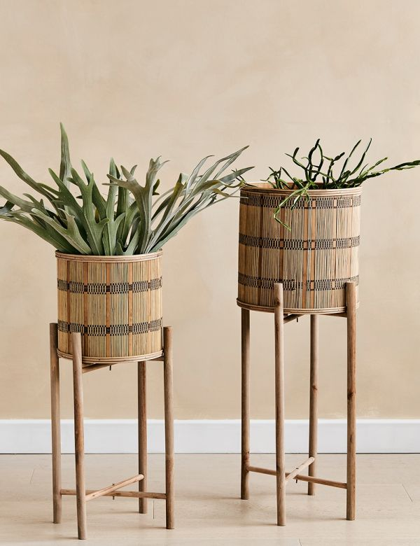Set of Two Bamboo Plant Stands