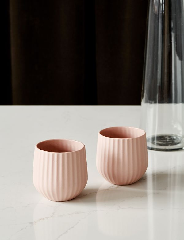 Set of Two Blush Pink Ribbed Ceramic Tumblers