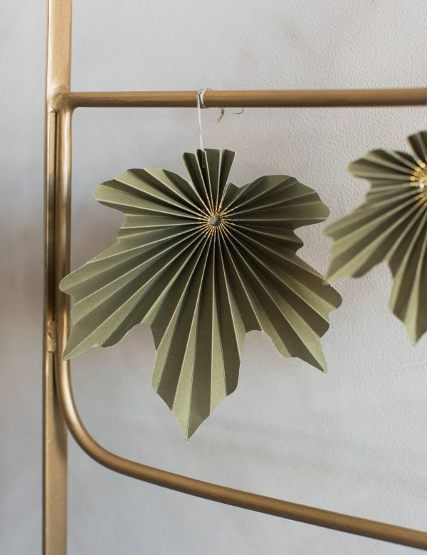 Set of Two Hanging Leaf Decorations - Green