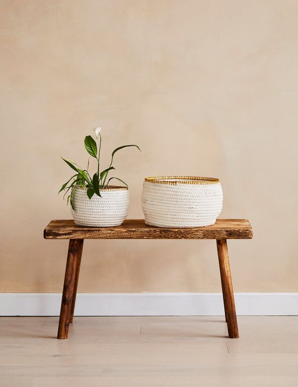 Set of Two White and Gold Wicker Baskets