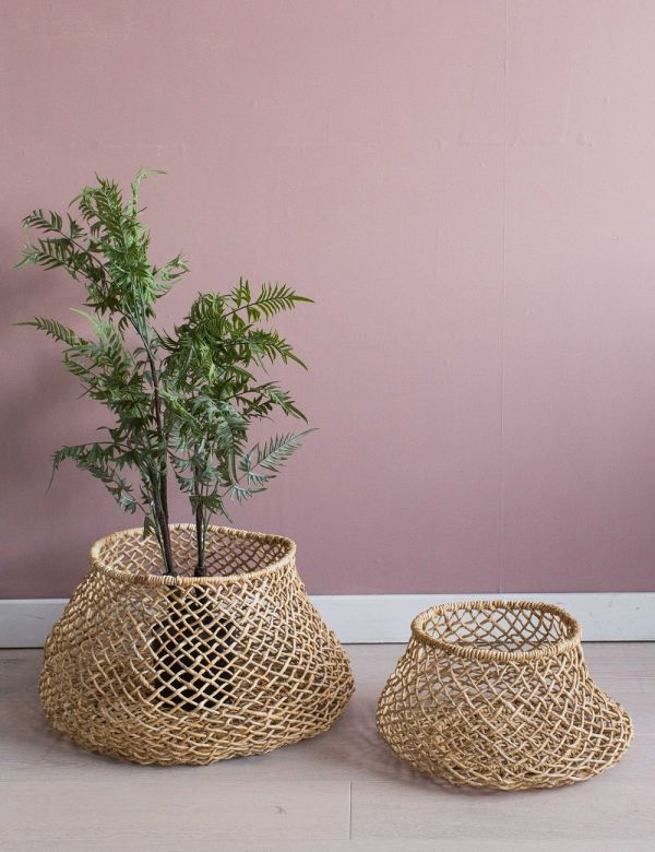 Set of Two Woven Storage Baskets