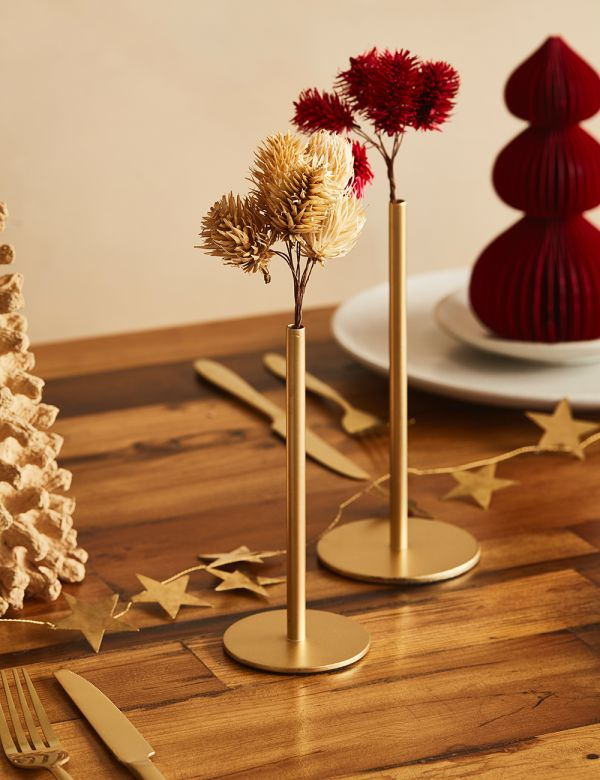 Single Brass Stem Vases - Two Sizes Available