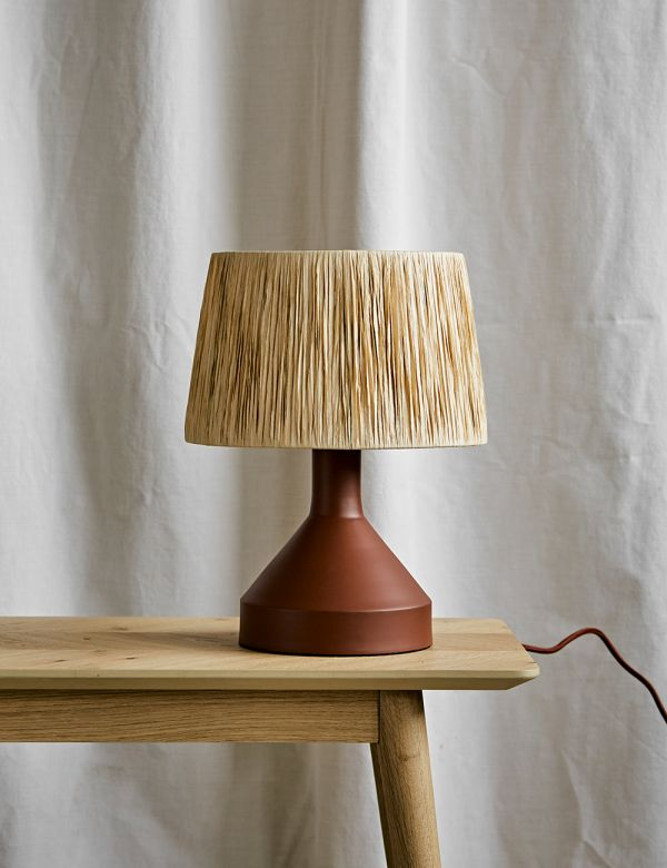 Small Brick Table Lamp with Raffia Shade
