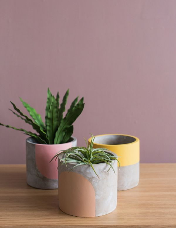 Small Concrete Geometric Plant Pot by Pow Pots -  Three Colours Available