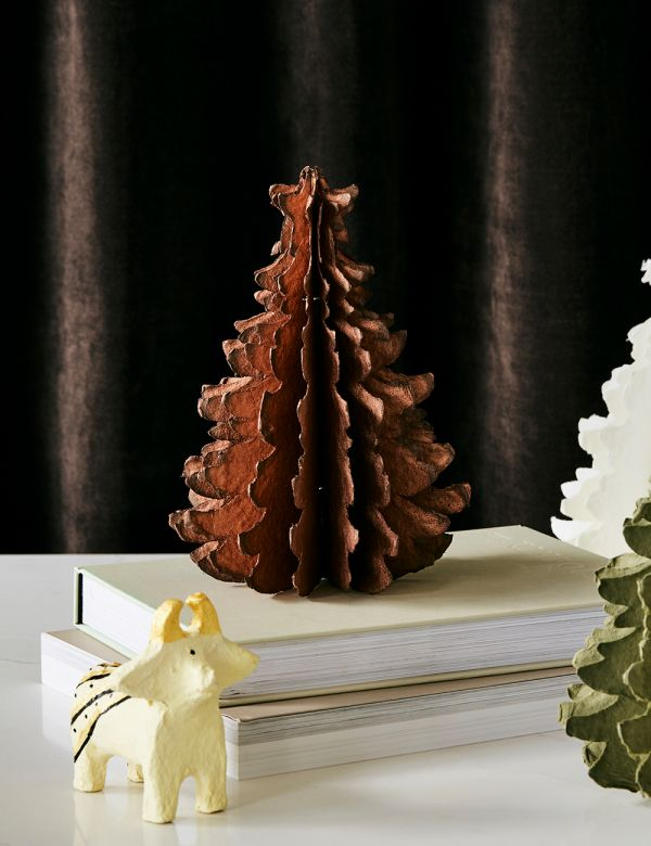 Small Copper Standing Paper Pulp Christmas Tree