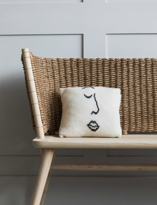 Small Face Print Woollen Cushion