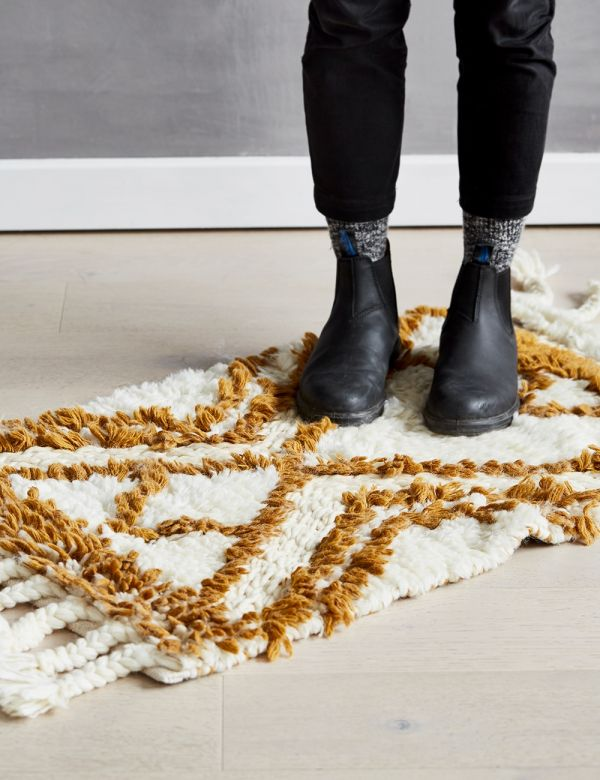 Small Mustard & Cream Berber Rug
