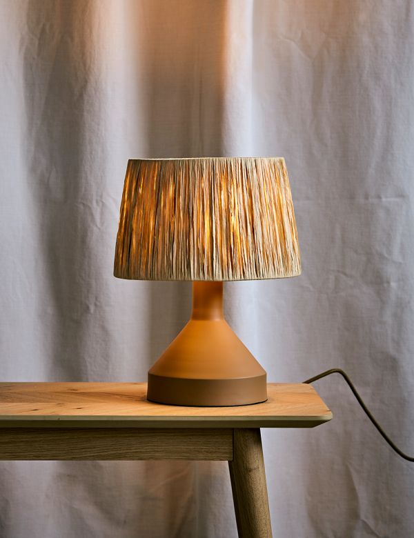 Small Natural Table Lamp with Raffia Shade