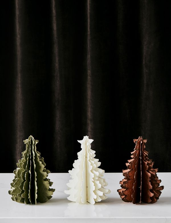 Small Ivory Standing Paper Pulp Christmas Tree
