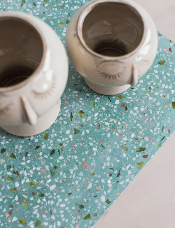 Square Green Terrazzo Side Table