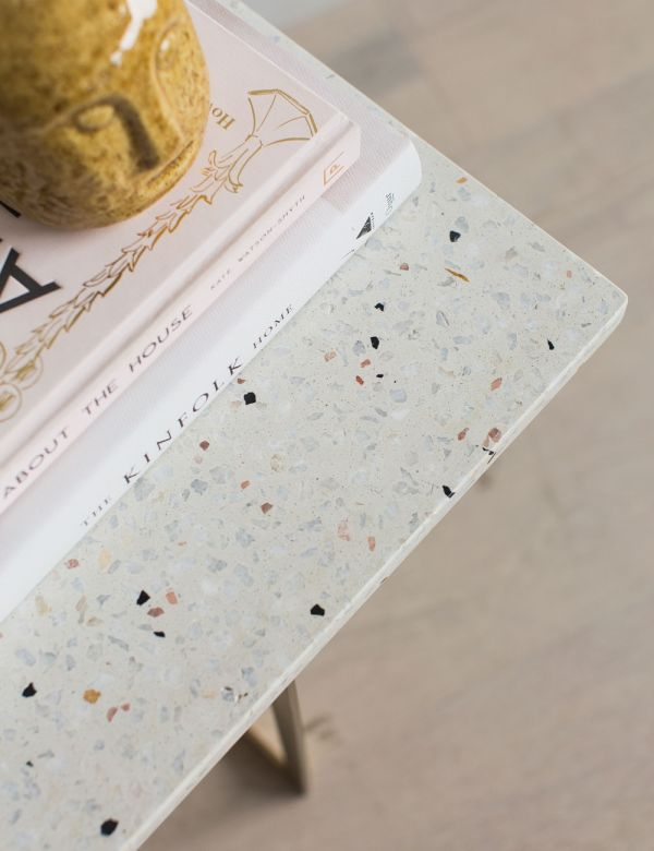 Square White Terrazzo Side Table