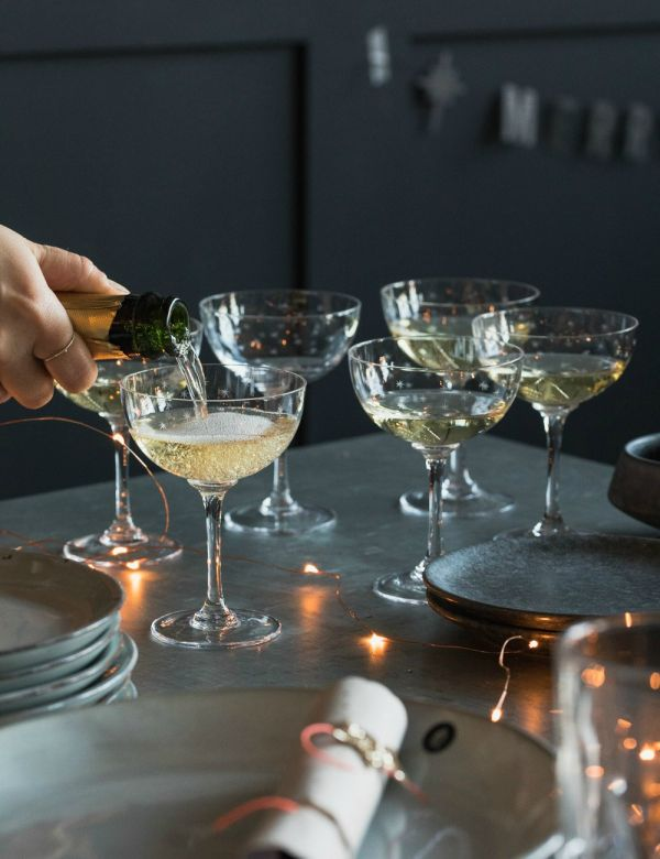 Star Engraved Champagne Glasses