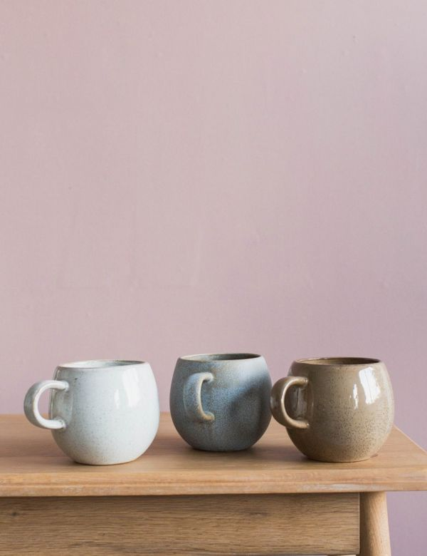 Stoneware Coffee Cup - Three Colours Available