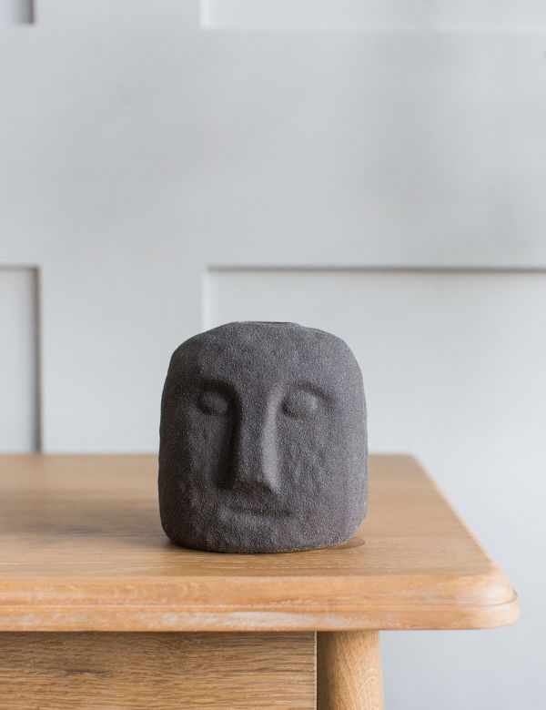 Stoneware Face Candle Holder - Black