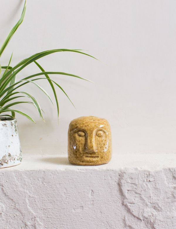 Stoneware Face Candle Holder - Mustard. Shop now at Rose & Grey