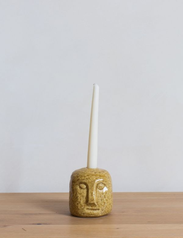 Stoneware Face Candle Holder - Mustard