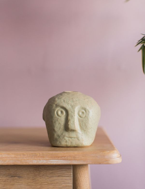 Stoneware Face Candle Holder - Sand