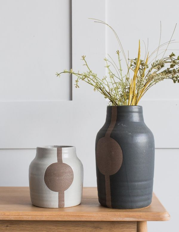 Stoneware Vase with Circle - Two Sizes Available