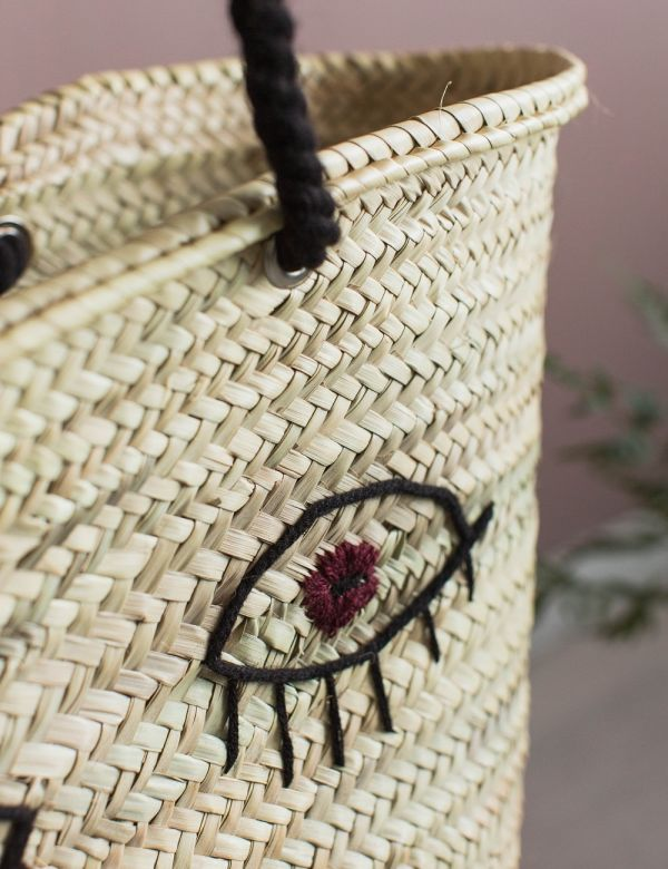 Straw Bag with Eyes